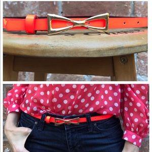 Accessories - Cute Neon Orange Gold Bow Buckle Thin Belt